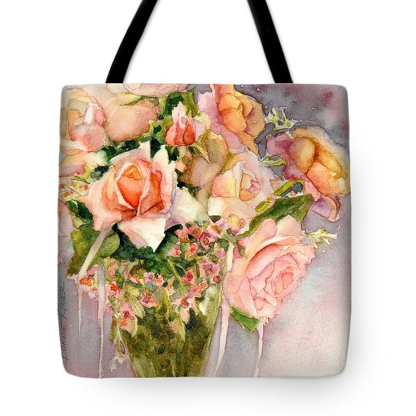 Peach Roses In Vase Tote Bag