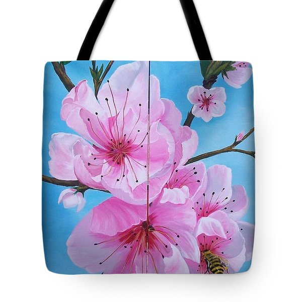 Peach Tree In Bloom Diptych Tote Bag