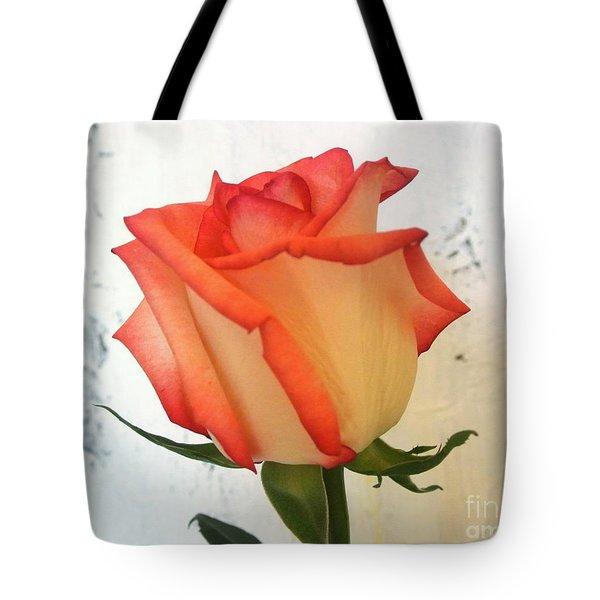 Peach Trim Rose Tote Bag