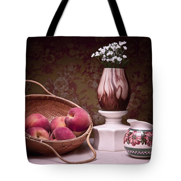 Peaches And Cream Sill Life Tote Bag by Tom Mc Nemar