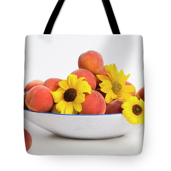Peaches And Sunflowers Tote Bag by Diane Macdonald