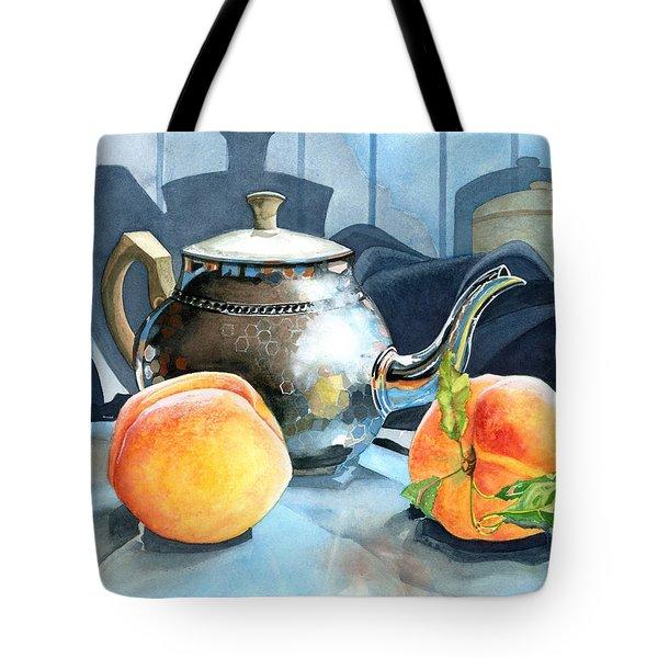Peaches And Tea Tote Bag by Barbara Jewell