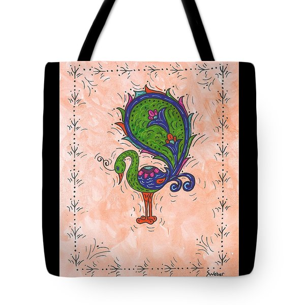 Tote Bag featuring the painting Peachy Peacock by Susie Weber