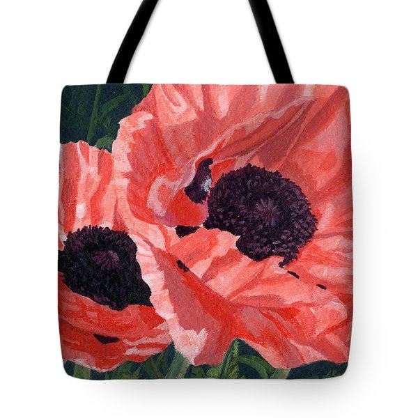 Tote Bag featuring the painting Peachy Poppies by Lynne Reichhart