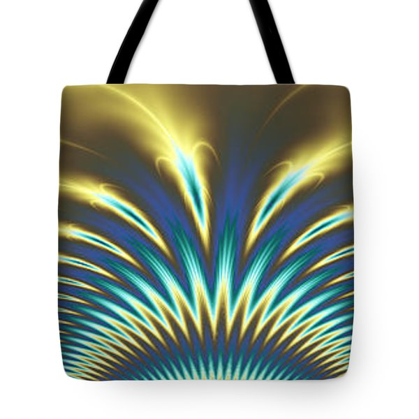 Peacock Abstract 2 Tote Bag by Faye Symons