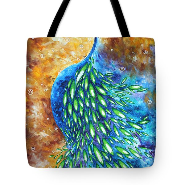 Peacock Abstract Bird Original Painting In Bloom By Madart Tote Bag by Megan Duncanson
