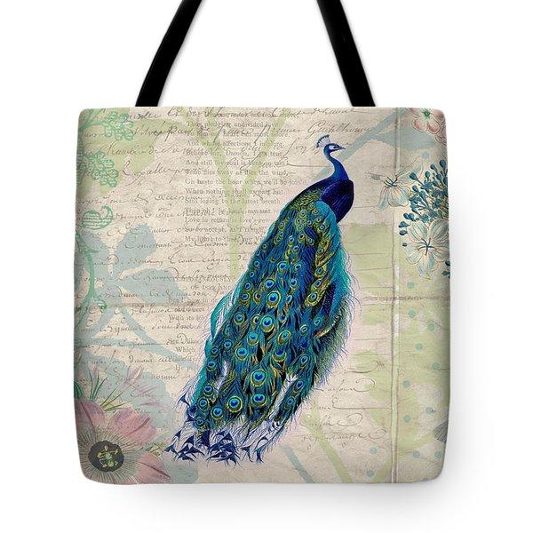 Peacock And Botanical Art Tote Bag