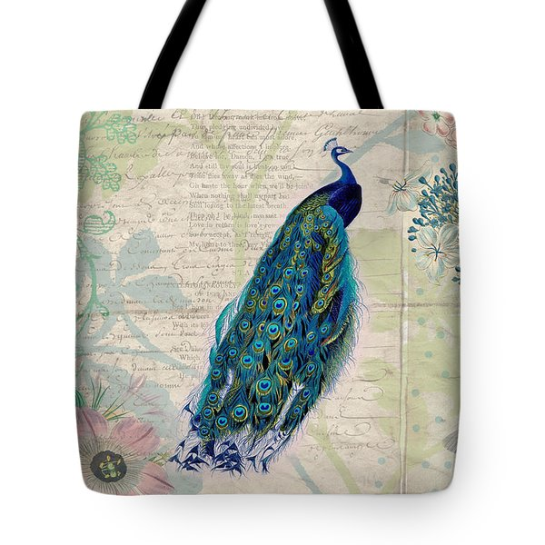 Peacock And Botanical Art Tote Bag