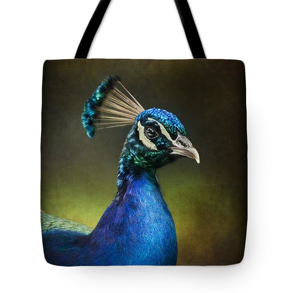 Tote Bag featuring the photograph Peacock by Ann Lauwers