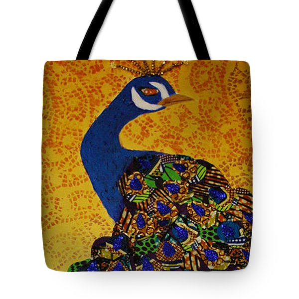 Tote Bag featuring the tapestry - textile Peacock Blue by Apanaki Temitayo M