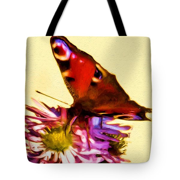 Tote Bag featuring the digital art Peacock Butterfly by Daniel Janda