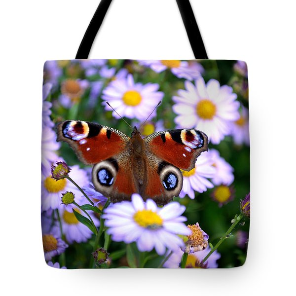 Peacock Butterfly Perched On The Daisies Tote Bag