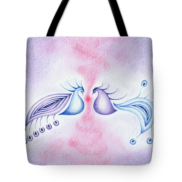 Tote Bag featuring the drawing Peacock Dance by Keiko Katsuta