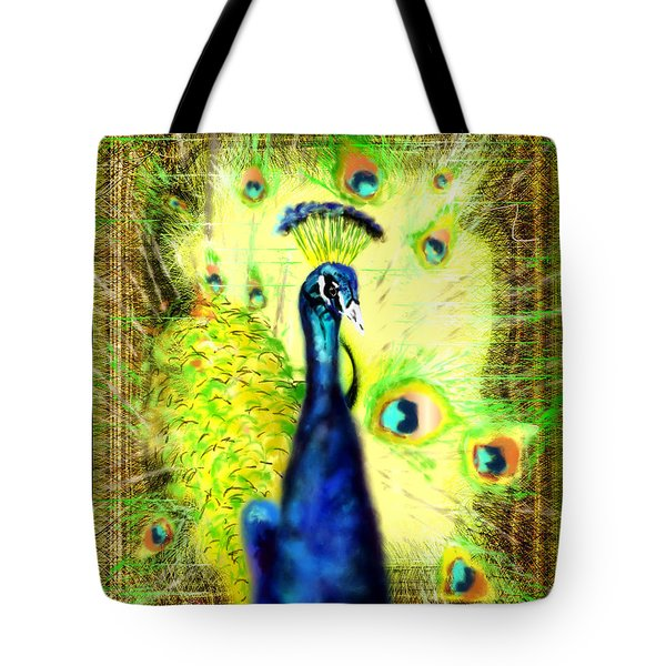 Tote Bag featuring the drawing Peacock by Daniel Janda