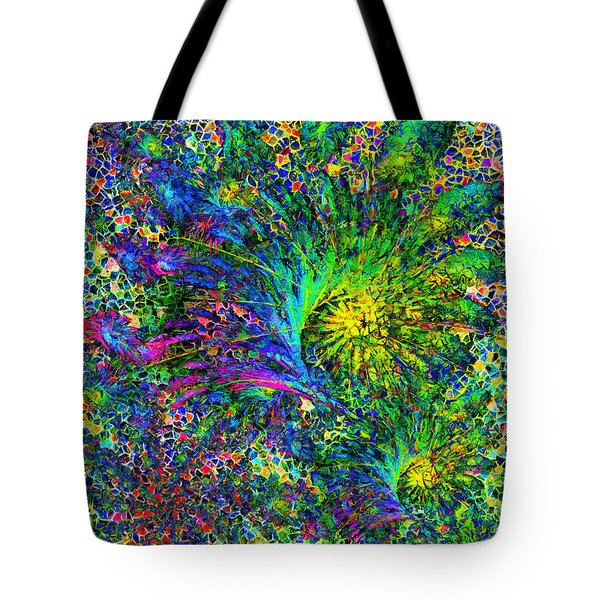 Tote Bag featuring the mixed media Peacock Feather Abstract by Isabella Howard