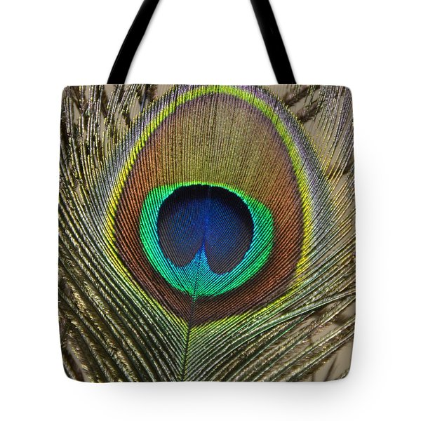 Peacock Feather Tote Bag by Debra Thompson
