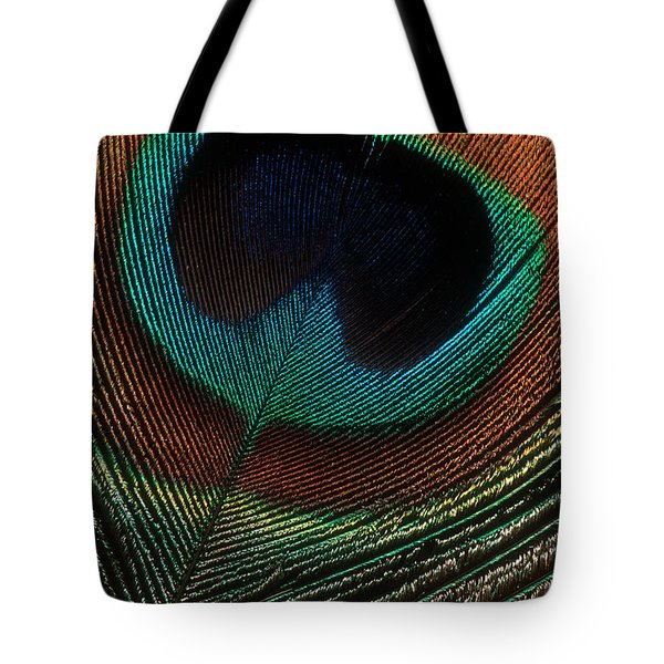 Tote Bag featuring the photograph Peacock Feather by Jerry Fornarotto