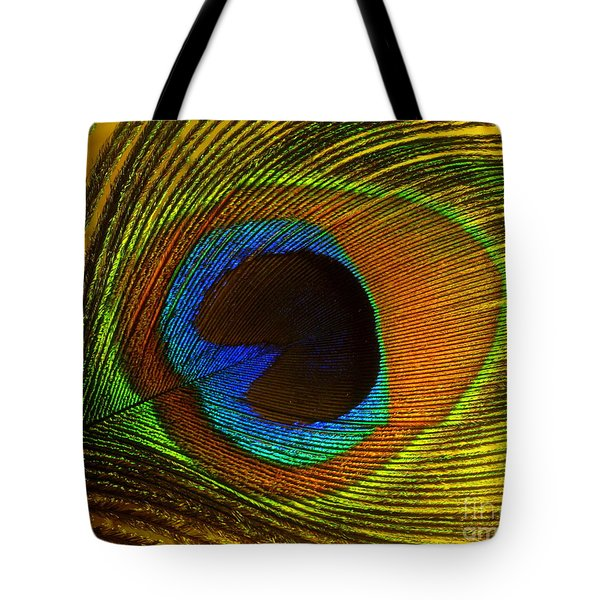 Tote Bag featuring the photograph Peacock Feather by Ranjini Kandasamy