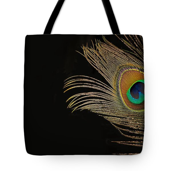 Tote Bag featuring the photograph Peacock Feather Still Life by Lisa Knechtel