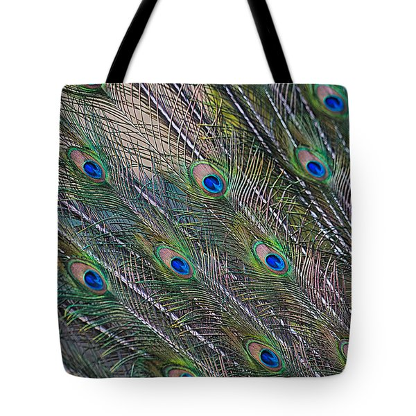 Peacock Feathers Abstract Tote Bag by Eti Reid