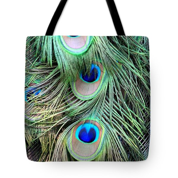 Peacock Feathers Tote Bag by AR Annahita