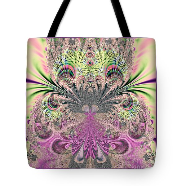 Peacock Feathers Bouquet Fractal 157 Tote Bag by Rose Santuci-Sofranko