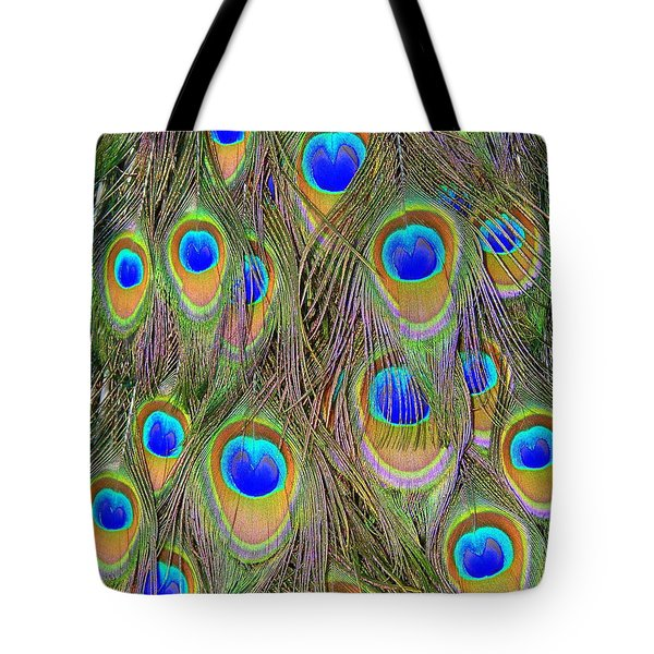 Tote Bag featuring the photograph Peacock Feathers by Ramona Johnston
