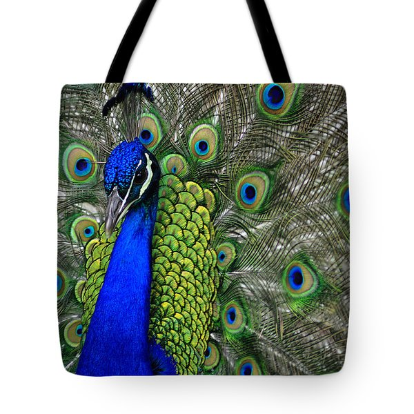 Peacock Head Tote Bag by Debby Pueschel