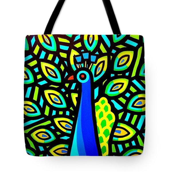 Peacock Iv Tote Bag by John  Nolan