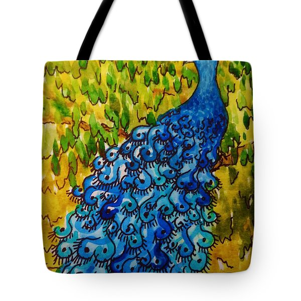 Tote Bag featuring the painting Peacock by Katherine Young-Beck