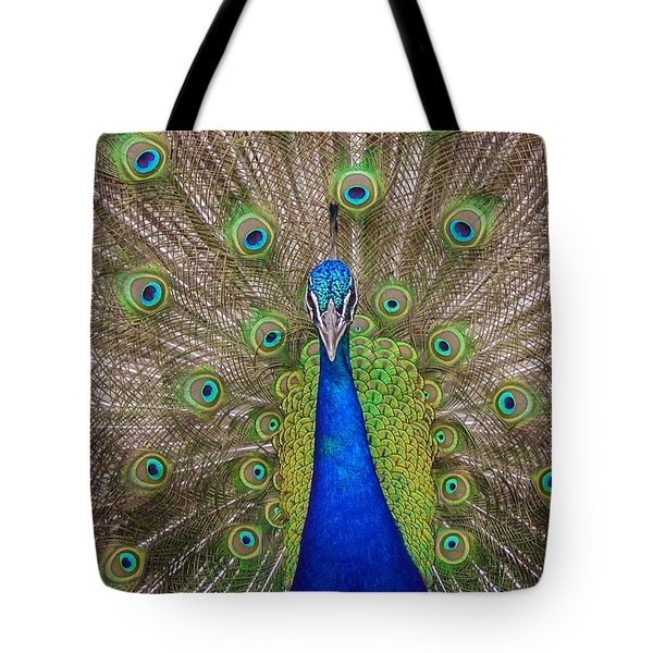 Tote Bag featuring the photograph Peacock by Leigh Anne Meeks