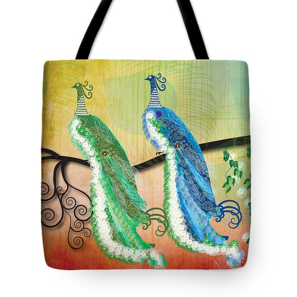 Tote Bag featuring the digital art Peacock Love by Kim Prowse
