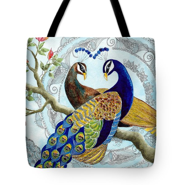 Peacock Love Tote Bag by Susy Soulies