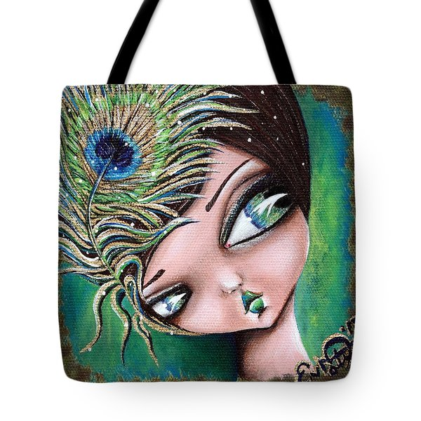 Peacock Princess Tote Bag by Lizzy Love of Oddball Art Co