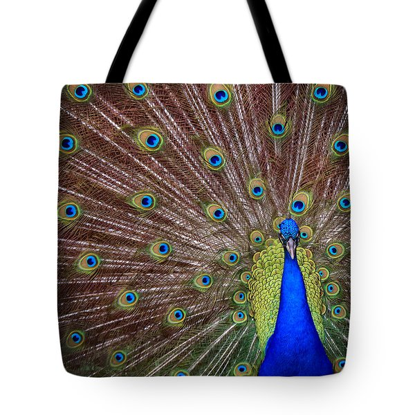 Tote Bag featuring the photograph Peacock Squared by Jaki Miller
