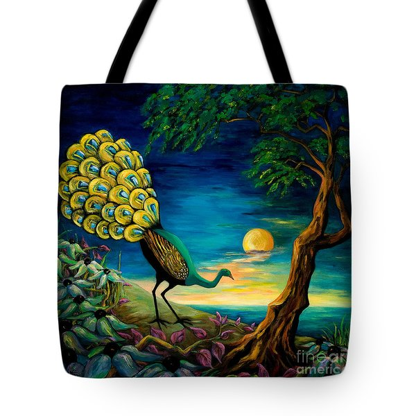 Peacock Strolls On The Beach Tote Bag by Larry Martin