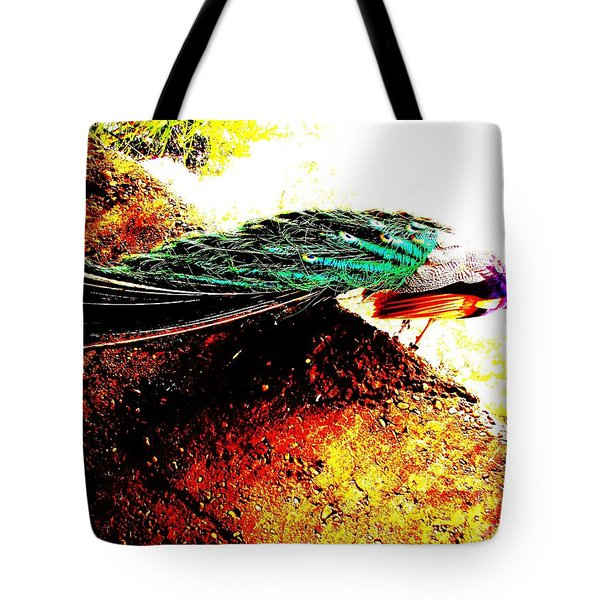 Peacock Tail Tote Bag by Vanessa Palomino