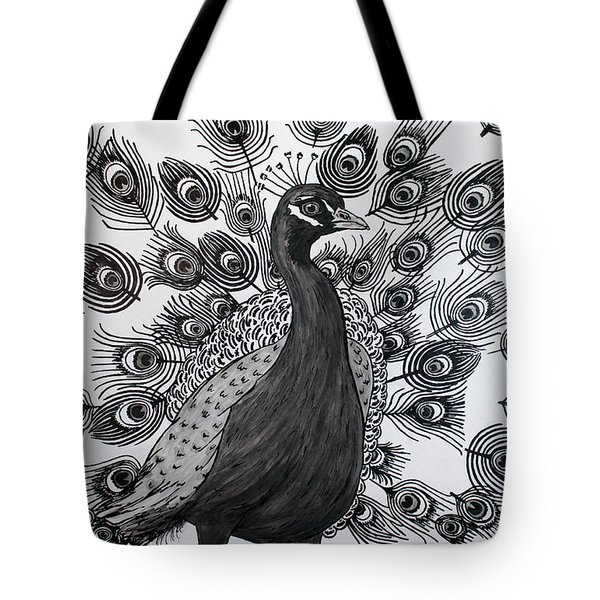 Tote Bag featuring the drawing Peacock Walk by Megan Dirsa-DuBois