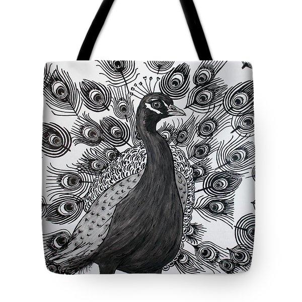 Peacock Walk Tote Bag