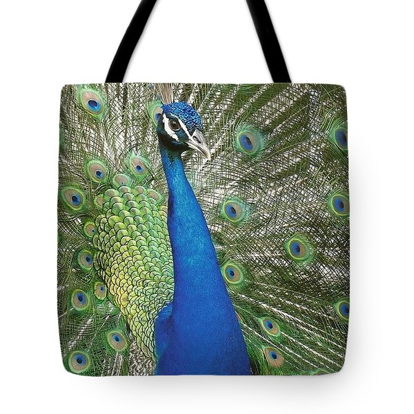 Tote Bag featuring the photograph Peacock Waltz by Ella Kaye Dickey