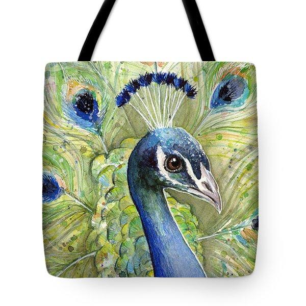 Peacock Watercolor Portrait Tote Bag