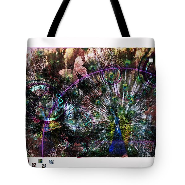 Tote Bag featuring the digital art Peacock With Leftovers  by Nola Lee Kelsey