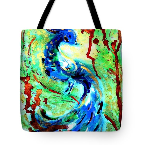 Peacock Tote Bag by Zaira Dzhaubaeva