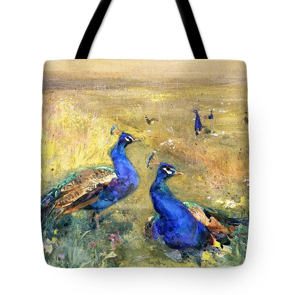 Peacocks In A Field Tote Bag by Mildred Anne Butler