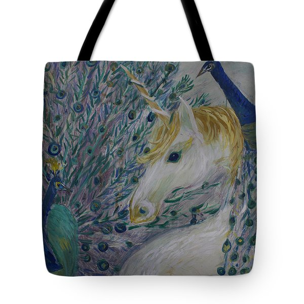 Peacocks With Unicorn Tote Bag