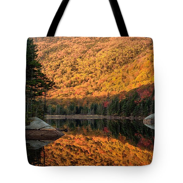 Tote Bag featuring the photograph Peak Fall Foliage On Beaver Pond by Jeff Folger