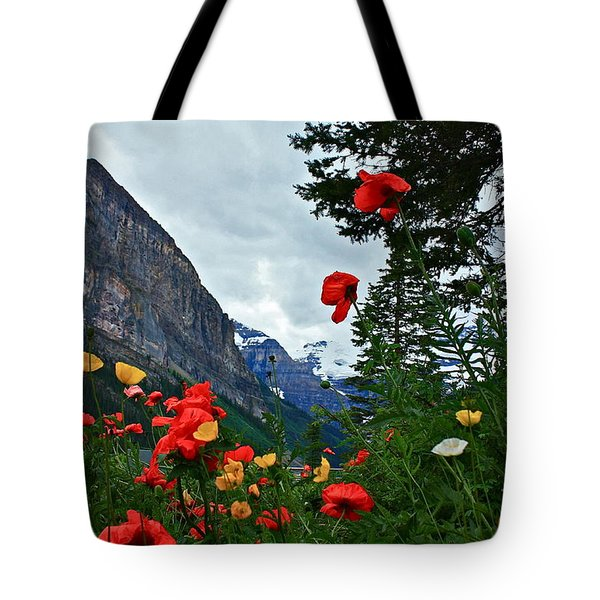 Peaks And Poppies Tote Bag by Linda Bianic