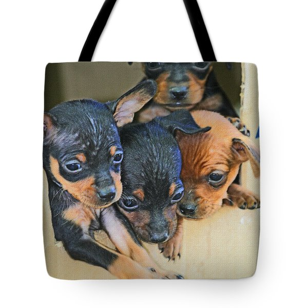 Peanuts Puppies 4 Of 5 Tote Bag by Tom Janca