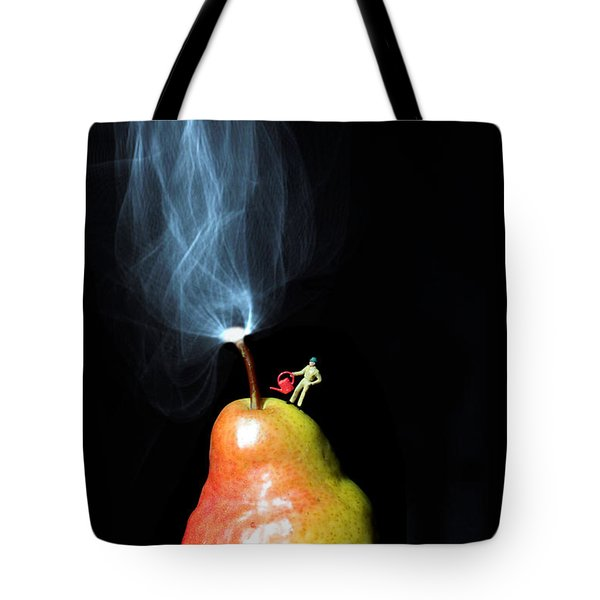 Pear And Smoke Little People On Food Tote Bag by Paul Ge