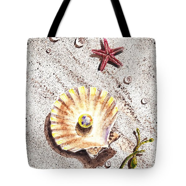 Pearl In The Seashell Sea Star And The Water Drops Tote Bag by Irina Sztukowski